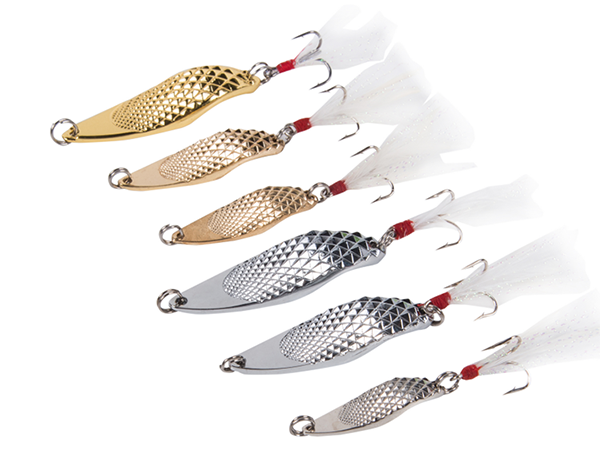 Cuchara de metal cromado ideal para trucha, panfish y bass